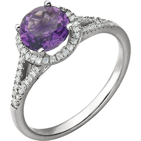 14kt White Gold 1.2 ct Amethyst Halo Ring with 1/5 ct Diamonds