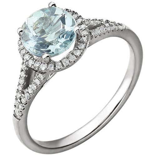 14kt White Gold Aquamarine Ring with 1/6 ct Diamonds