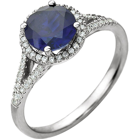 14kt White Gold 1.85 ct Chatham Created Sapphire  Halo Ring with 1/5 ct Diamonds