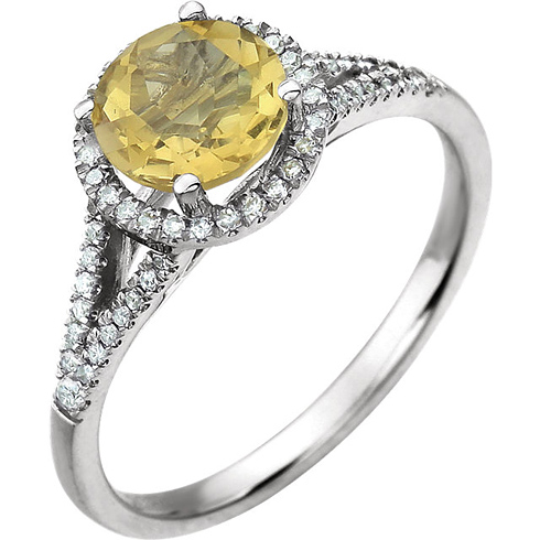 14kt White Gold 1.2 ct Citrine Halo Ring with 1/5 ct Diamonds