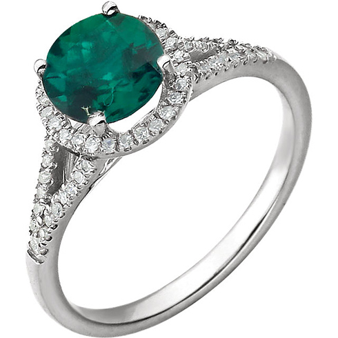14kt White Gold 1.25 ct Chatham Created Emerald  Halo Ring with 1/5 ct Diamonds