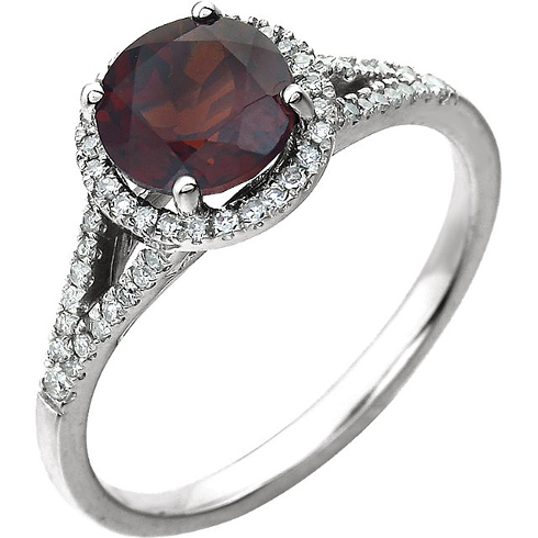 14kt White Gold 1.65 ct Garnet Halo Ring with 1/5 ct Diamonds