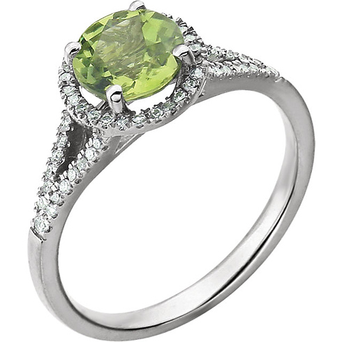 14kt White Gold 1.45 ct Peridot Halo Ring with 1/5 ct Diamonds