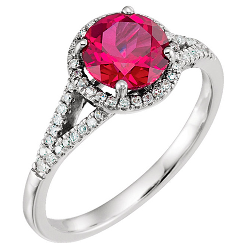 14kt White Gold 1.85 ct Chatham Created Ruby  Halo Ring with 1/5 ct Diamonds