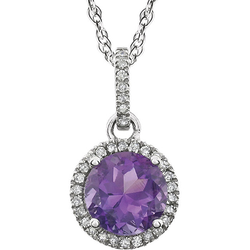 14kt White Gold 1 2 ct Amethyst 18in Necklace with Diamonds JJ AM
