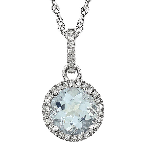 14kt White Gold 1.3 ct Aquamarine 18in Necklace with Diamonds