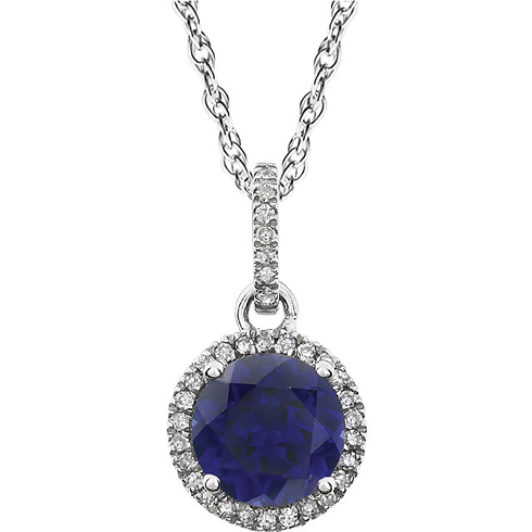14kt White Gold 1.8 ct Created Sapphire 18in Necklace with Diamonds