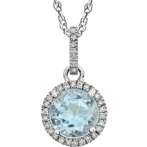 14kt White Gold 1.6 ct Sky Blue Topaz 18in Necklace with Diamonds