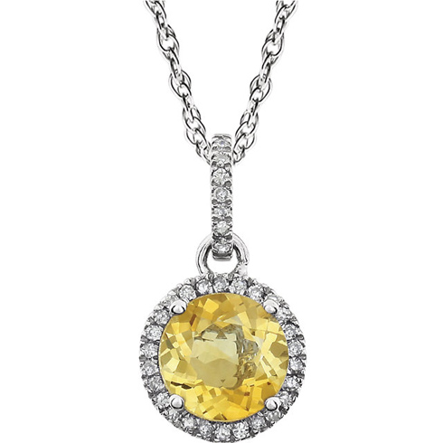 14kt White Gold 1.2 ct Citrine 18in Necklace with Diamonds