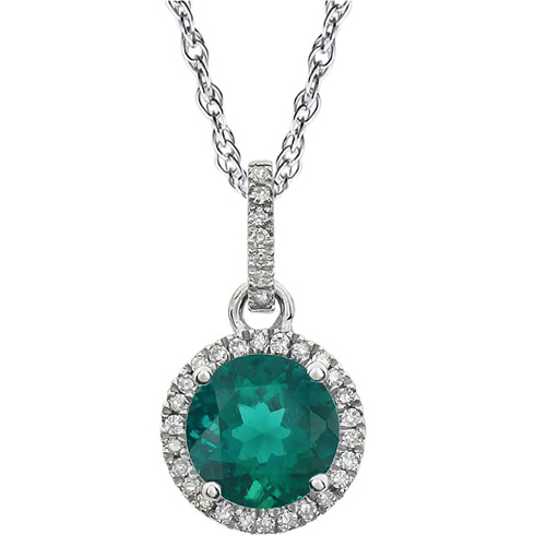 14kt White Gold 1.25 ct Created Emerald 18in Necklace with Diamonds