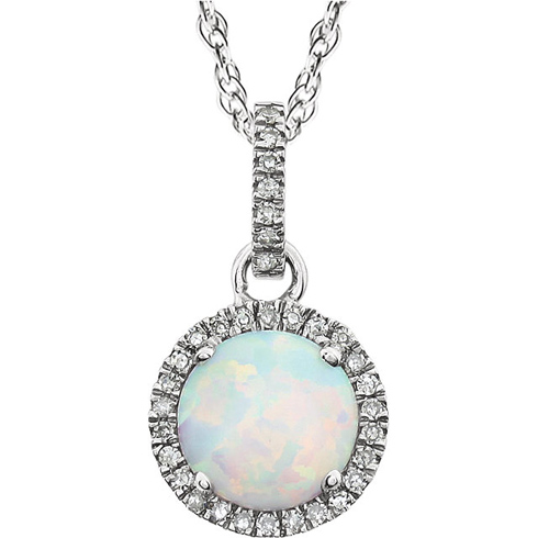 14kt White Gold .83 ct Created Opal 18in Necklace with Diamonds