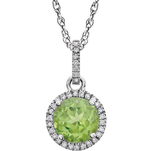 14kt White Gold 1.2 ct Peridot 18in Necklace with Diamonds