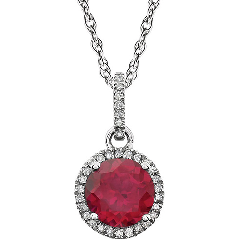 14kt White Gold 1.8 ct Created Ruby 18in Necklace with Diamonds
