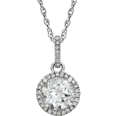 14kt White Gold 1.8 ct Created White Sapphire 18in Necklace with Diamonds