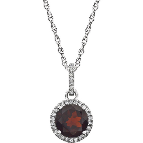 14kt White Gold 1.6 ct Garnet Necklace with Diamonds
