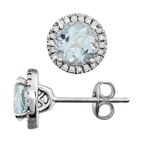 14kt White Gold 1 1/2 ct Aquamarine and Diamond Halo Earrings