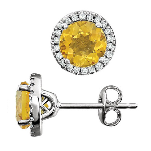14kt White Gold 1 1/2 ct Citrine and Diamond Halo Earrings