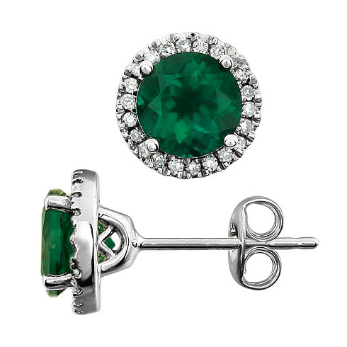 14kt White Gold 1.7 ct Created Emerald and Diamond Halo Earrings