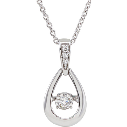 14kt White Gold .07 ct Diamond Mystara 18in Necklace