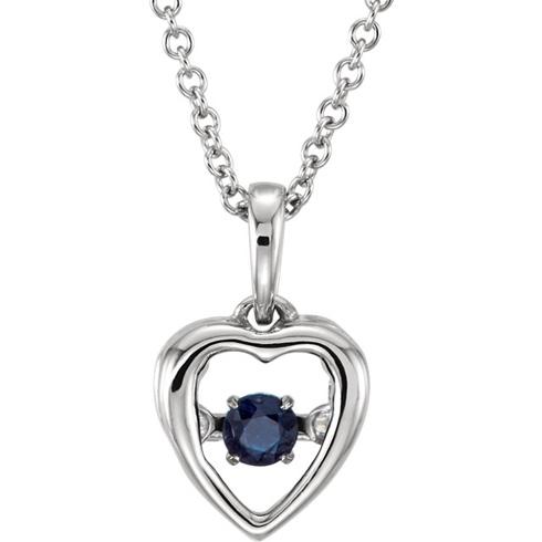 14kt White Gold 1/5 ct Blue Sapphire 18in Mystara Heart Necklace