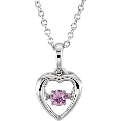 14kt White Gold 1/5 ct Pink Sapphire 18in Mystara Heart Necklace
