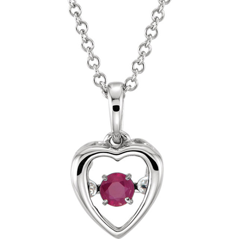 14kt White Gold .15 ct Ruby 18in Mystara Heart Necklace