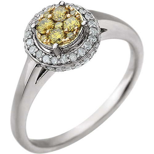 14kt White Gold 1/2 ct tw White and Yellow Diamond Cluster Halo Ring Size 7