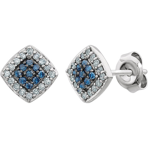 14kt White Gold 1/5 ct Blue and White Diamond Square Cluster Earrings