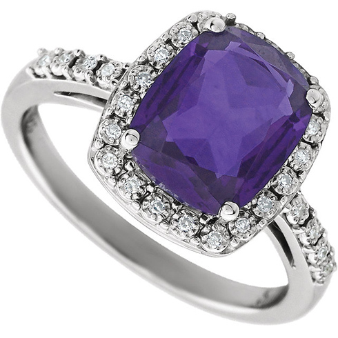 14kt White Gold 2.6 ct Cushion Amethyst Ring with Diamonds