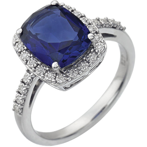 14k White Gold 2.6 ct Cushion Created Blue Sapphire Ring with Diamonds