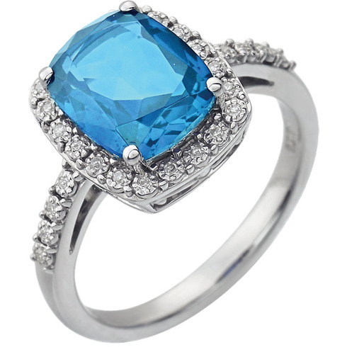 14kt White Gold 3.5 ct Cushion Swiss Blue Topaz Ring with Diamonds