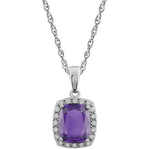 14kt White Gold Cushion Cut Amethyst 18in Necklace with Diamonds