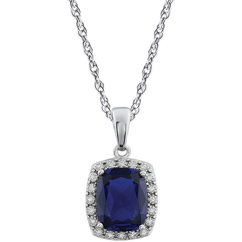 14kt White Gold Cushion Cut Created Sapphire 18in Necklace with Diamonds