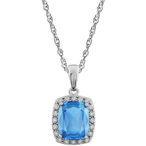 14kt White Gold Cushion Cut Swiss Blue Topaz 18in Necklace with Diamonds