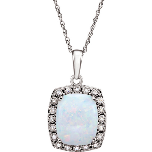 14kt White Gold Cushion Cut Created Opal 18in Necklace with Diamonds