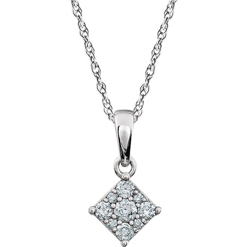 14kt White Gold 1/6 ct Diamond Cluster 18in Necklace