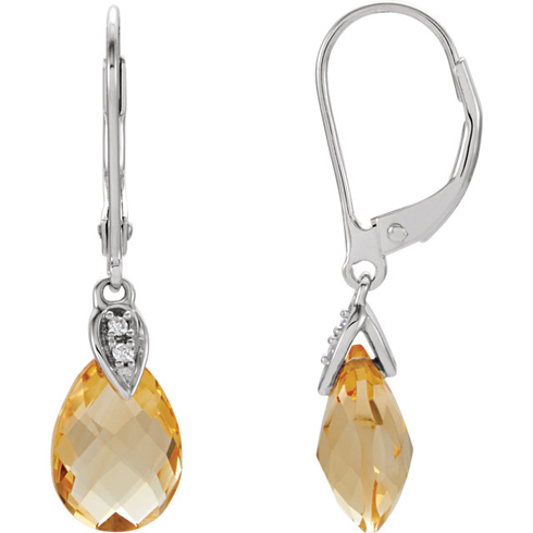 14kt White Gold 3.3 ct Pear Citrine and Diamond Leverback Earrings
