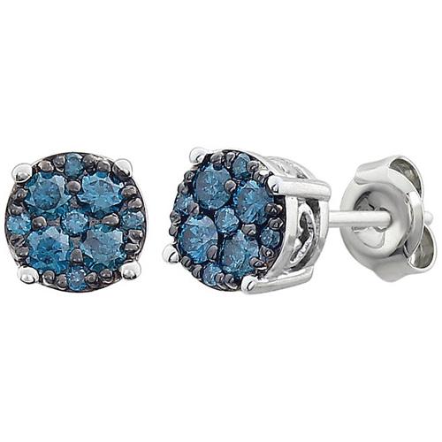 14kt White Gold 3/8 ct Blue Diamond Cluster Earrings