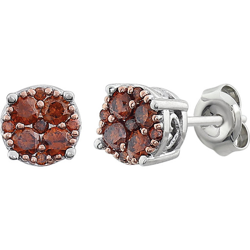 14kt White Gold 3/8 ct Brown Diamond Cluster Earrings