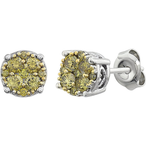 14kt White Gold 3/8 ct Yellow Diamond Cluster Earrings