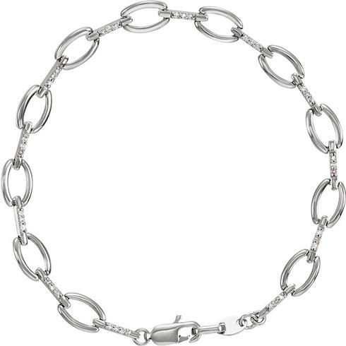 14kt White Gold 1/5 ct Diamond Link 7 1/2in Bracelet