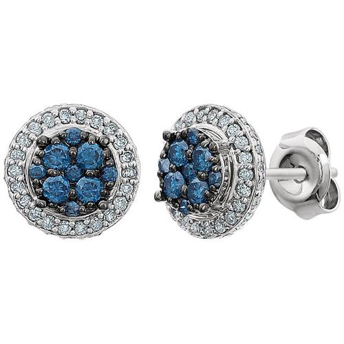 14kt White Gold 1/2 ct Blue & White Diamond Halo Earrings