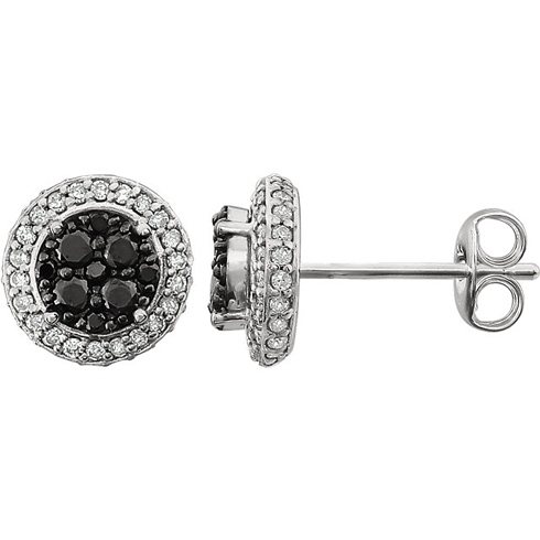 14kt Yellow Gold 1/2 ct Black and White Diamond Halo Earrings