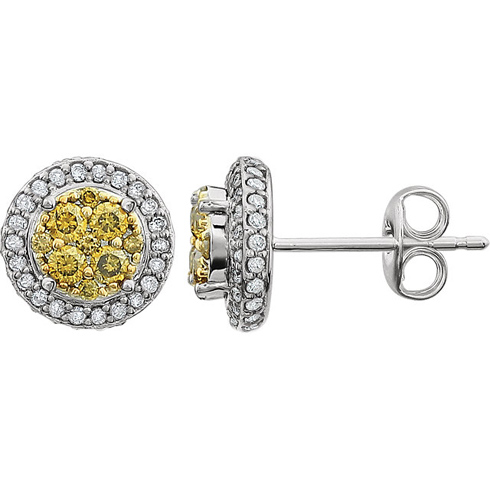 14kt Yellow Gold 1/2 ct Yellow and White Diamond Halo Earrings