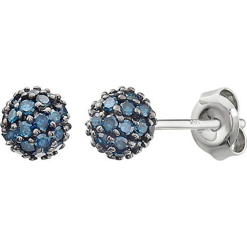 14kt White Gold 1/3 ct Blue Diamond Pave Ball Stud Earrings