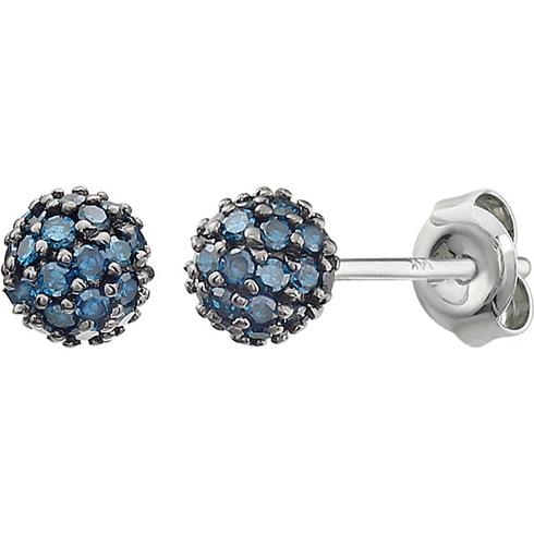14kt White Gold 1/3 ct Blue Diamond Pave Ball Stud Earrings