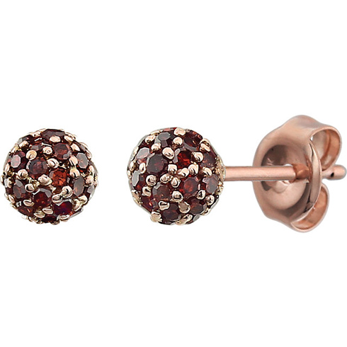 14kt Rose Gold 1/3 ct Brown Diamond Pave Ball Stud Earrings