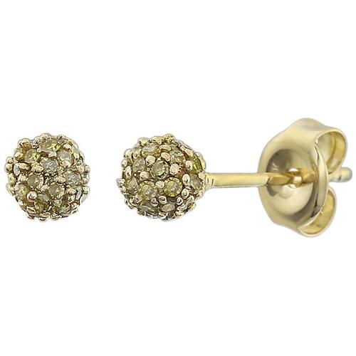 14kt Yellow Gold 1/3 ct Yellow Diamond Pave Ball Stud Earrings