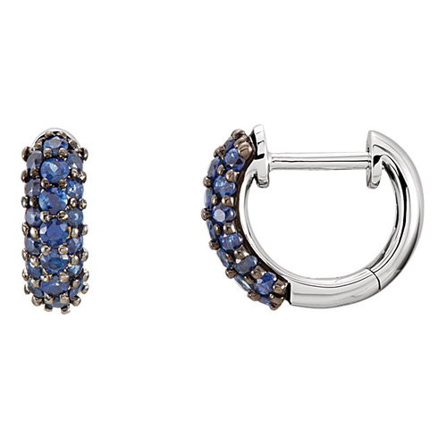 14kt White Gold 7/8 ct Blue Sapphire Hoop Earrings