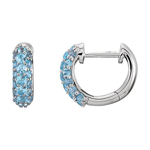 14kt White Gold 7/8 ct Swiss Blue Topaz Hoop Earrings